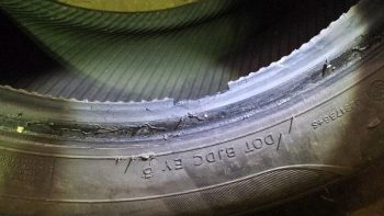 Damaged part worn tyres